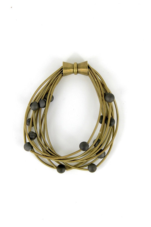 10 layer bronze bracelet with gray geo