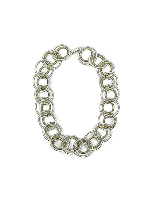 silver-bronze short loop necklace w-magnetic closure