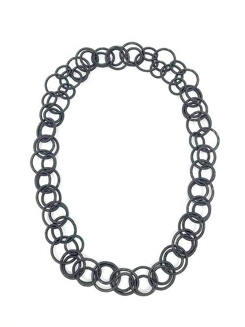 black long multi loop necklace