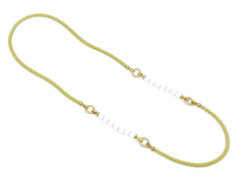 Long gold chain with frosted beads and gold clasp