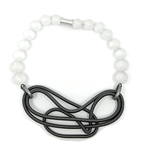 frosted glass with gunmetal chunky free form wire necklace