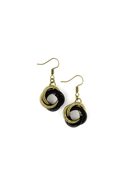 bronze-black floating knot earring