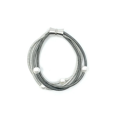 silver/slate wave wire bracelet w/mop and magnet