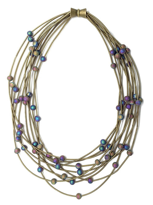 10 layer bronze necklace with irri geo