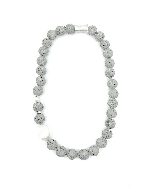 Gray short dyed lava rock necklace with keshi pearl