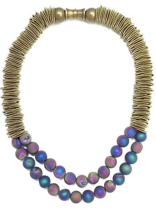 bronze spring ring necklace with 2 layer irri geo