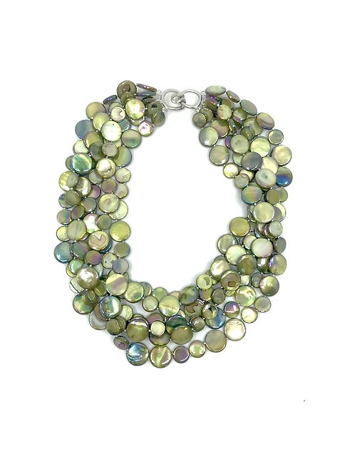 5 strand mother of pearl necklace moss