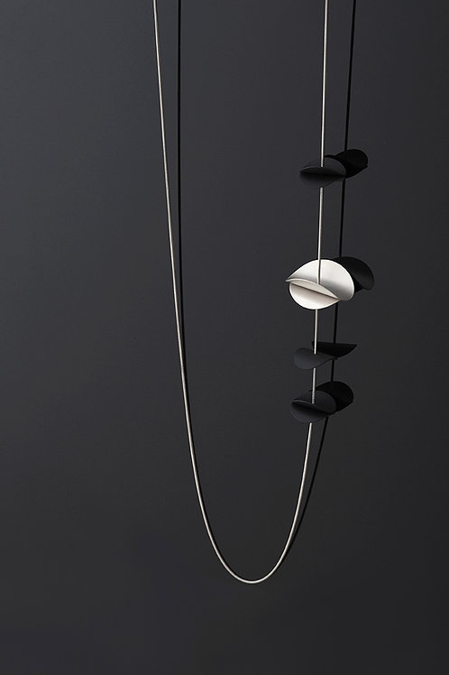 Otto Long Necklace (Silver Black)