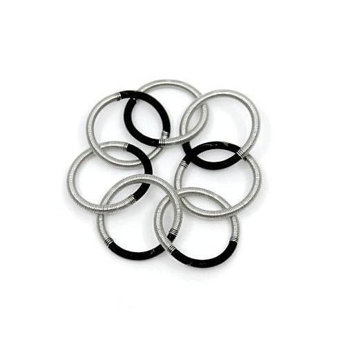 silver/black single loop bracelet
