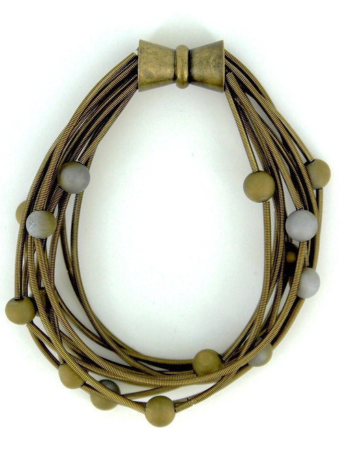 10 layer bronze bracelet with silver and gold geo