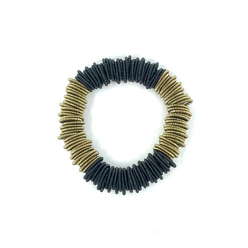 small spring ring bracelet with black/bronze sections