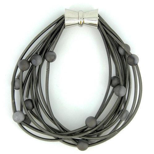 10 layer slate bracelet with silver-slate geo