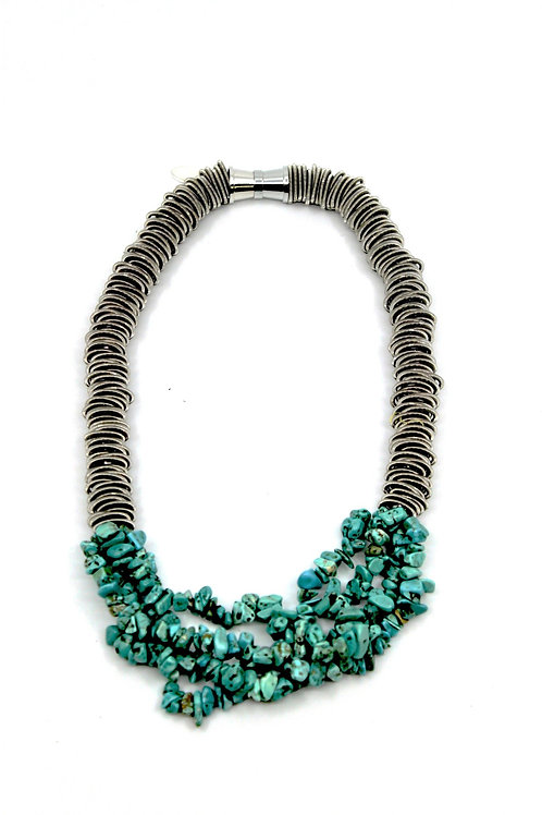 Silver spring ring necklace with 4 strands turquoise