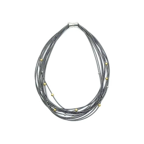 slate piano wire necklace with silver and gold beads