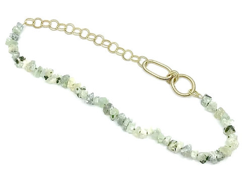 Long green garnet necklace with gold p.w. rings