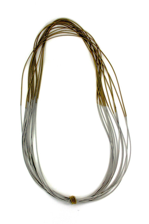 silver-bronze two tone long necklace on bias with single knot
