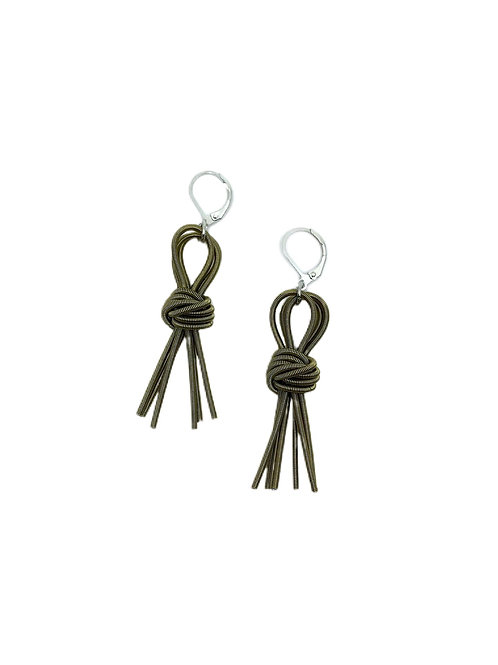 bronze knot tassel earring