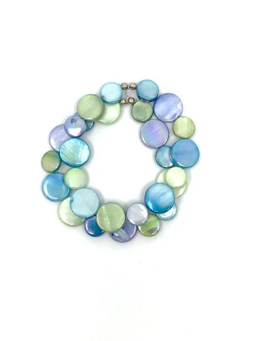 mother of pearl bracelet blue and green