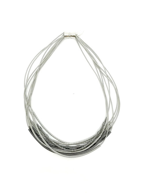 silver and slate short wire necklace with textured sliding sleeves