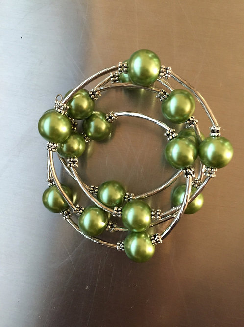 lime shell pearl wrap bracelet