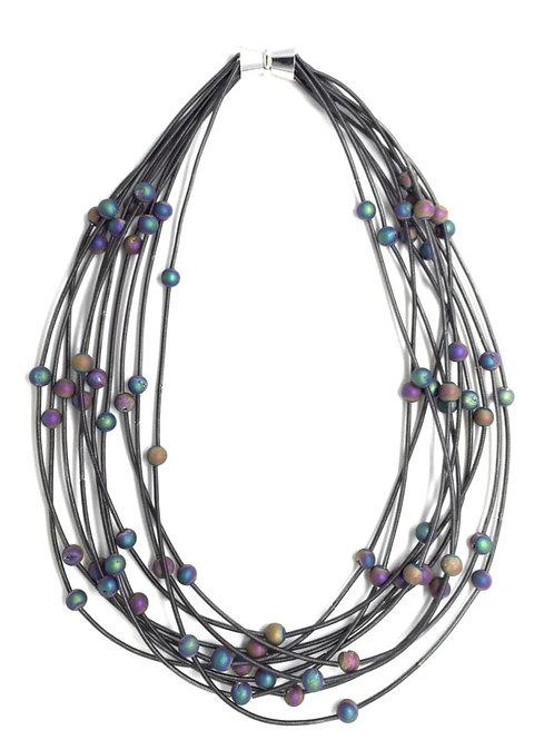 10 layer slate necklace with irri geo