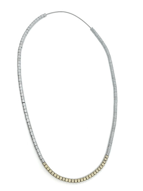 long industrial metal beads necklace with gold