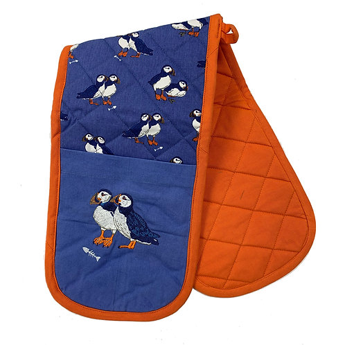 PEONY PUFFIN DOUBLE OVEN MITS, Min Qty: 4