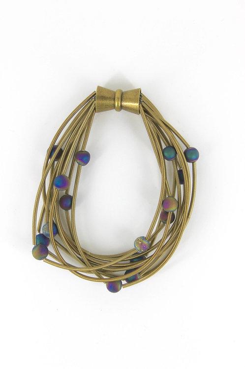 10 layer bronze bracelet with irri geo
