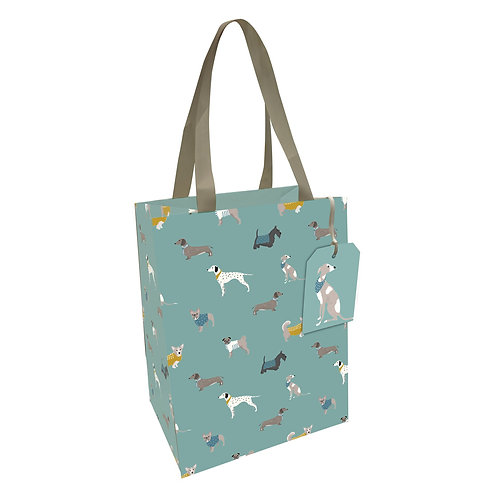 PEONY DOGS MED GIFT BAG, Min Qty: 6