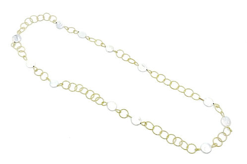 Long gold rings with coin pearls necklace