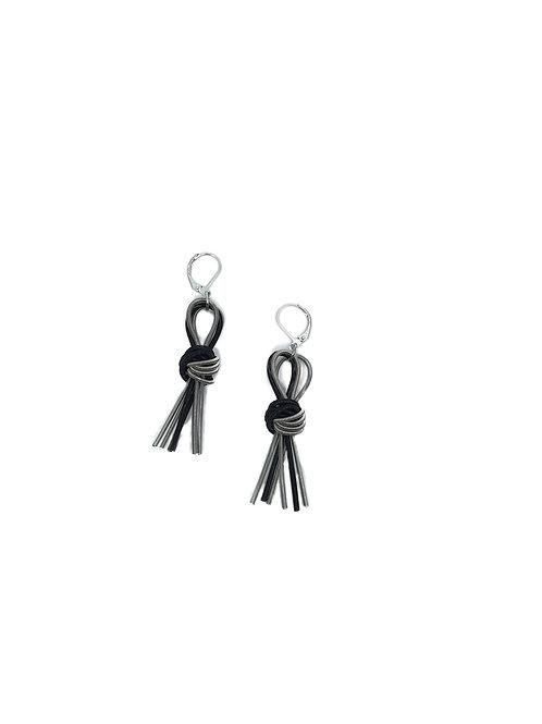 silver-black knot tassel earring