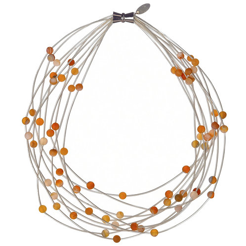 10 layer white necklace with apricot geo
