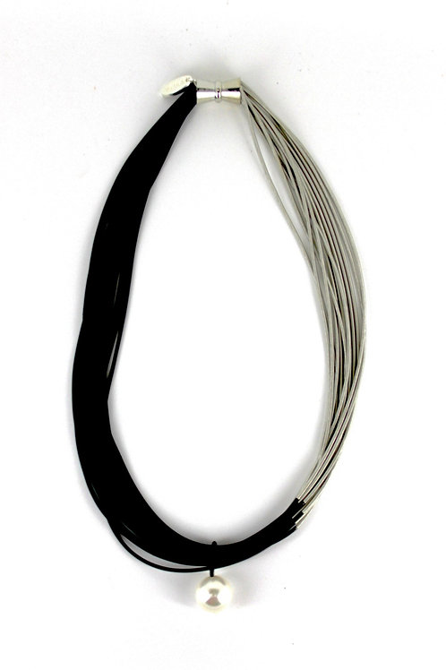 silver-black two tone pw necklace with white drop