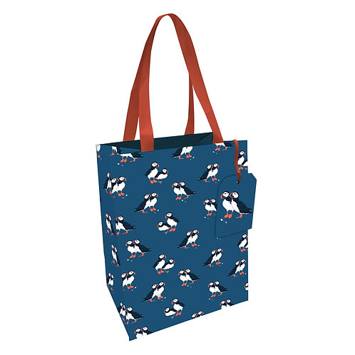 PEONY PUFFIN MED GIFT BAG, Min Qty: 6