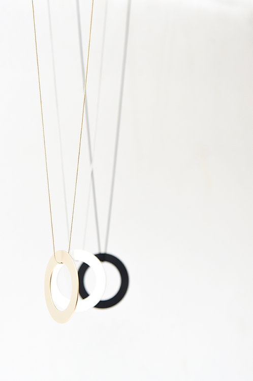 Compass Long Necklace Satin Silver
