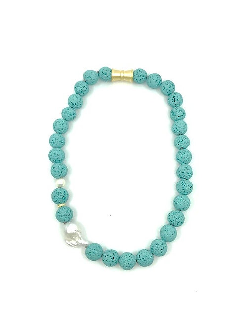 Turquoise short dyed lava rock necklace with keshi pearl