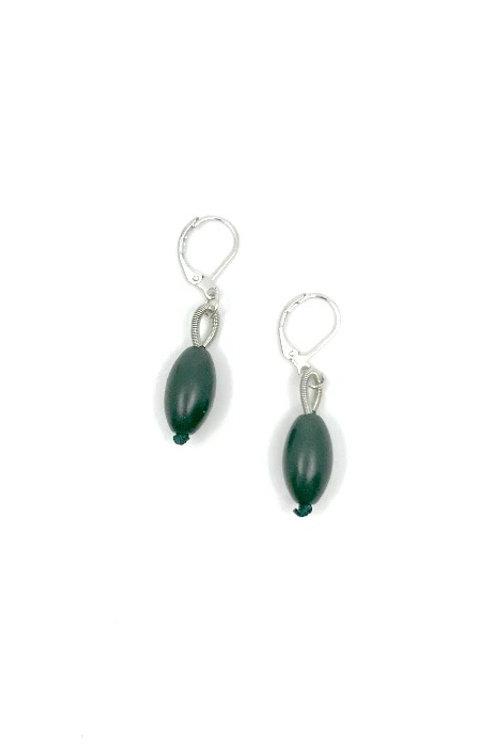 green bead earring