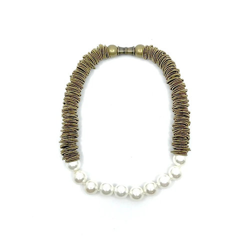 bronze spring ring necklace with white mother of pearl beads