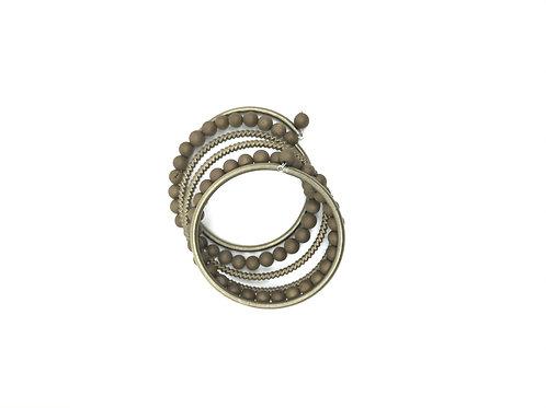 bronze geode stones on wrap around bracelet