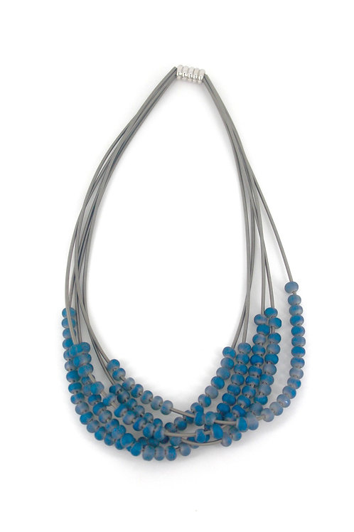 silver 5 layer wire necklace with blue beads