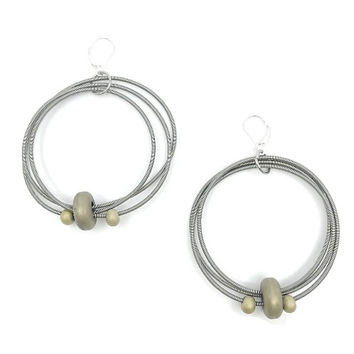 big wire loop with gold hematite disc earring