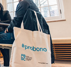 """A PBSC tote bag with """"#probono"""" printed on it"""