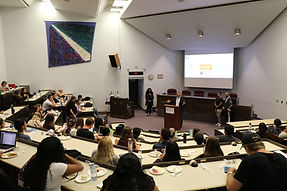 A speaker addressing PBSC students at the University of Windsor