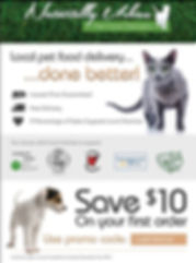 a flier for Naturally Urban Pet food de offering 10% off coupon code careyrocks