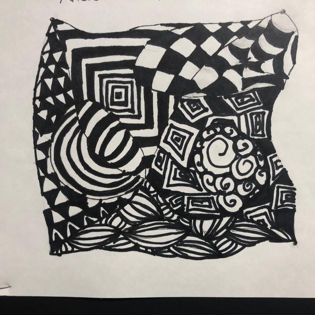 black ink on paper