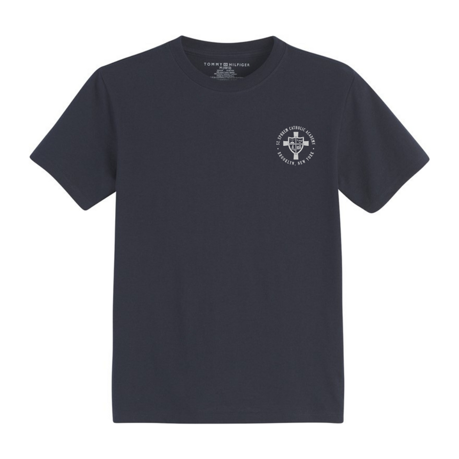 Navy tee with logo