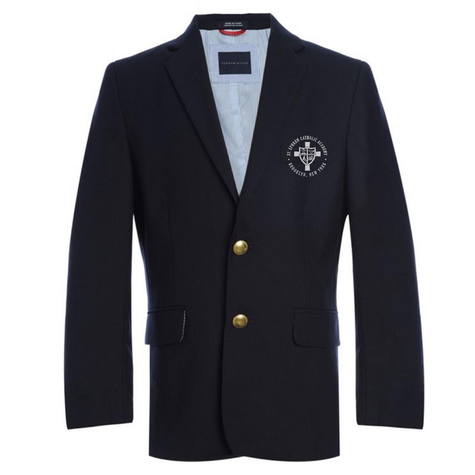 Navy blazer with logo (optional)