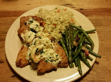 South Padre Island Fishing Southern Fried Snapper with Crabmeat Topping