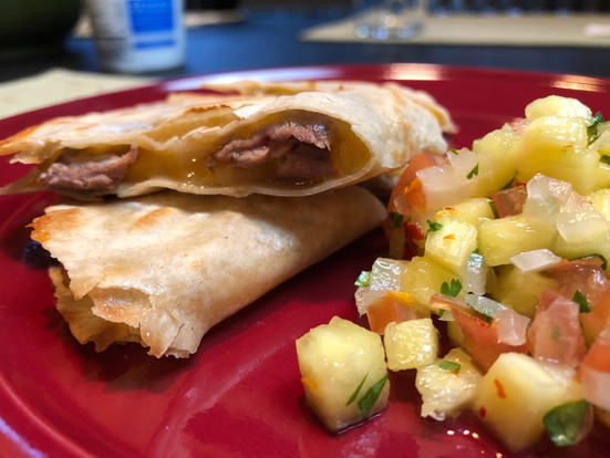 Beef Quesadillas with Pineapple Salsa