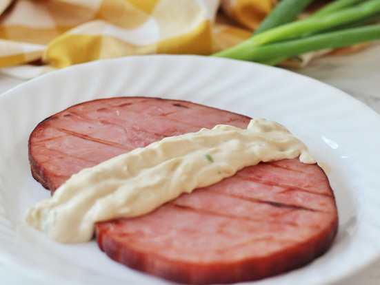 Grilled Ham with Mustard Cream Sauce